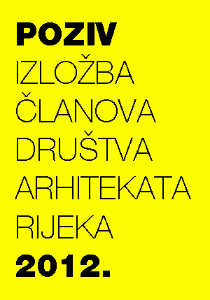 Poštovane kolegice i kolege, pozivamo Vas da svojim sudjelovanjem na izložbi arhitektonskih realizacija, projekata, natječajnih radova, urbanistickih planova, interijera, itd., doprinesete Izložbi radova članova Društva arhitekata Rijeka 2012. Izložbu organiziramo u suradnji s Hrvatskom komorom arhitekata Rijeka, a otvorenje planiramo u četvrtak, 13. prosinca 2012. u 18,00 sati u prostorima DAR-a u Dežmanovoj 2a.